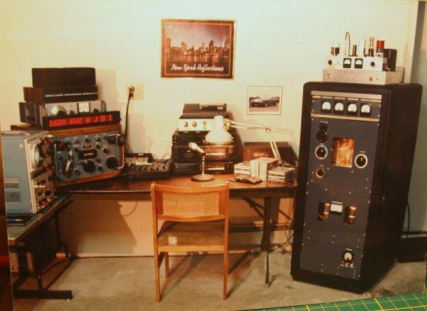 The 1989-1990 WJDI studio and 1,200 watt transmitter.